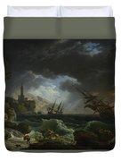 Joseph Vernet   A Shipwreck In Stormy Seas Duvet Cover