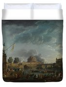 Joseph Vernet   A Sporting Contest On The Tiber At Rome Duvet Cover