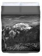 Joshua Tree At Keys View In Black And White Duvet Cover