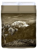 Joshua Tree At Keys View In Sepia Tone Duvet Cover