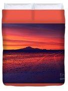 Journey Across The Salar De Uyuni At Sunset Duvet Cover