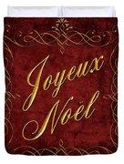 Joyeux Noel In Red And Gold Duvet Cover