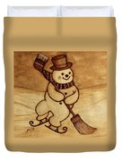 Joyful Snowman  Coffee Paintings Duvet Cover