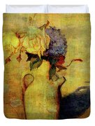 Jug With Yellow And Violet Flowers Duvet Cover