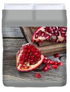 Juicy Ripe Pomegranates On Vintage Wood  Duvet Cover
