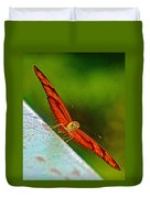 Julia Heliconian Butterfly Spreading Its Wings In Iguazu Falls National Park-brazil  Duvet Cover