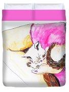 July Kitty In Rachaels Lap Duvet Cover