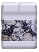 Jungle Crows On Jackfruit Duvet Cover