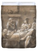 Jupiter And Mercury In The House Of Baucis And Philemon Duvet Cover
