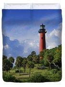 Jupiter Lighthouse Sq Duvet Cover