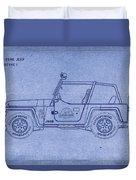 Jurassic Park Jeep Blueprint Duvet Cover