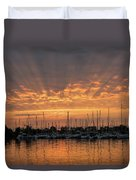 Just A Sliver Of The Sun - Sunrise God Rays At The Marina Duvet Cover
