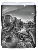Just Before Sunset B W Reedy River Falls Park Greenville South Carolina Art Duvet Cover