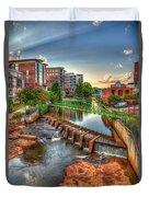 Just Before Sunset Reedy River Falls Park Greenville South Carolina Art Duvet Cover