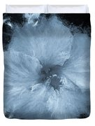 Blue Hibiscus Floral Portrait Duvet Cover