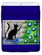 Just Counting Balls - Christmas Cat Duvet Cover