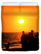 Kaanapali Beach Outrigger Sunset Duvet Cover