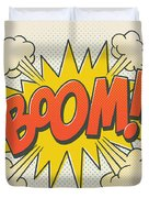 Comic Boom On Off White Duvet Cover by Mitch Frey