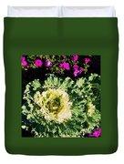 Kale With Petunias Duvet Cover