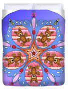Kaleidoscope Of Bears And Bees Duvet Cover
