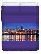 Kansas City Missouri Skyline At Night Duvet Cover