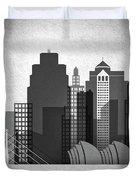 Kansas City Skyline In Black And White Duvet Cover