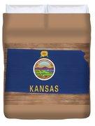 Kansas Rustic Map On Wood Duvet Cover