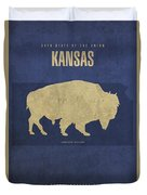 Kansas State Facts Minimalist Movie Poster Art Duvet Cover