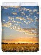 Kansas Sunflowers At Sunset Duvet Cover