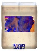 Kansas Watercolor Map Duvet Cover by Naxart Studio
