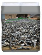 Kapenta Being Dried On The Beach - Lake Malawi Duvet Cover
