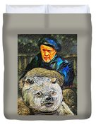 Kaptain Van Janned And His Trusty Bear Vincent Duvet Cover