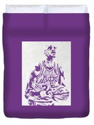 Kareem Abdul Jabbar Los Angeles Lakers Pixel Art Duvet Cover