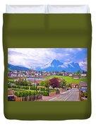 Kastelruth And Schlern Peak In Alps Landscape View Duvet Cover