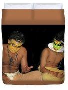Kathakali Dancers Getting Ready Duvet Cover
