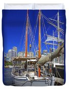 Kathleen Gillett The Artist Cruising Ketch Duvet Cover