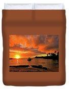 Kauai Sunset And Boat At Anchor Duvet Cover