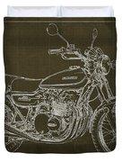 Kawasaki Motorcycle Blueprint, Mid Century Brown Art Print Duvet Cover