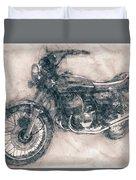 Kawasaki Triple - Kawasaki Motorcycles - 1968 - Motorcycle Poster - Automotive Art Duvet Cover