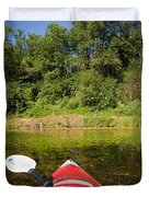 Kayak On A Forested Lake Duvet Cover