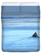 Kayaker And Geese Duvet Cover