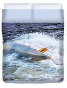 Kayaker Goes Over In Pipeline Rapids 5965ct Duvet Cover
