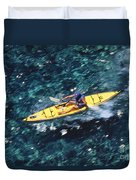 Kayaker Over Coral Reef Duvet Cover