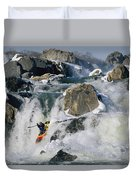 Kayaker Running Great Falls Duvet Cover