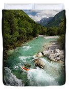 Kayaker Shooting The Cold Emerald Green Alpine Water Of The Uppe Duvet Cover