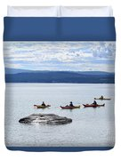 Kayakers Paddle To Fishing Cone On Yellowstone Lake Duvet Cover