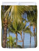 Kayakers Through Palms Duvet Cover