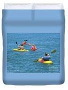 Kayaking Friends Duvet Cover