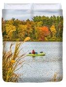 Kayaking In Fall Duvet Cover