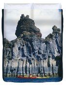 Kayaking Past Cliffs Duvet Cover